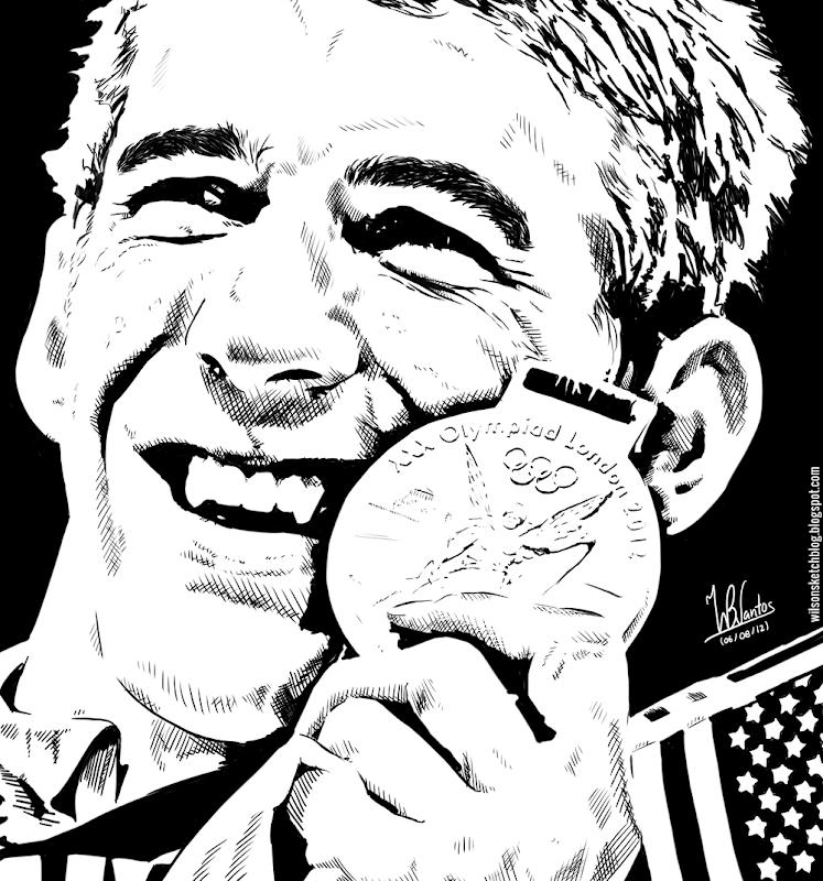Ink drawing of Michael Phelps, using Krita 2.4.