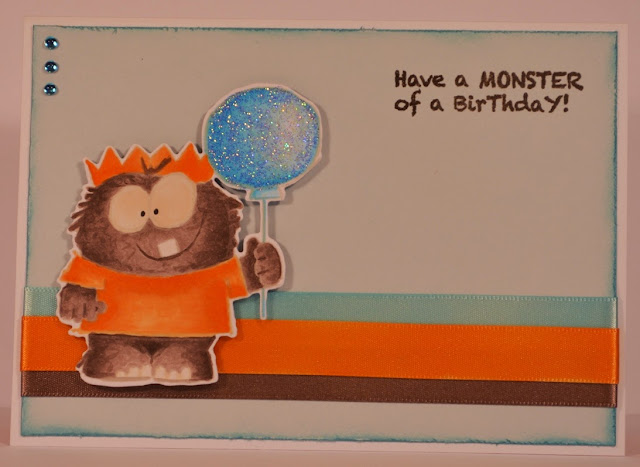 Elizabeth Whisson, Annabelle Stamps, Lil Monster, happy birthday, no line colouring, copic, copic markers, copic sketch, handmade card