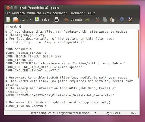Ubuntu - come visualizzare il Grub di default