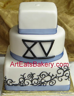 Three tier square black and white fondant custom designed Quinceanera cake