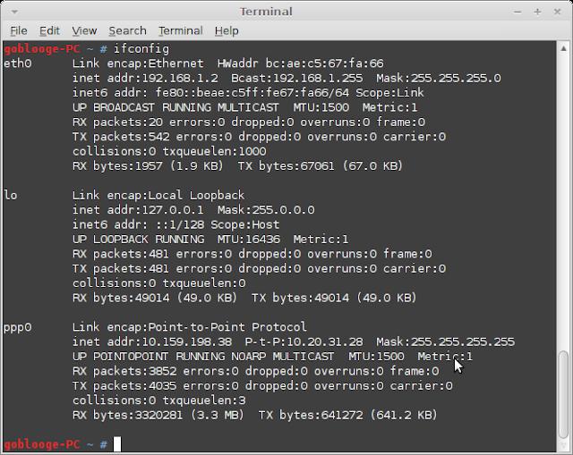 Ifconfig untuk melihat setting IP addrerss komputer