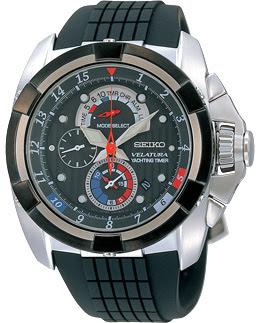 Jam Tangan Pria Tali Rubber Seiko Velatura Yachting Timer Chronograph : SPC149P1