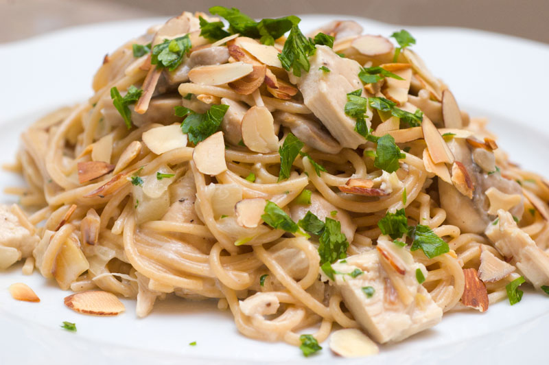 ... by Celeste: Pasta with Chicken, Almonds and Creamy Mascarpone Sauce