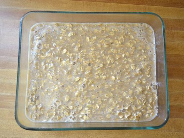 oat mixture poured into baking dish