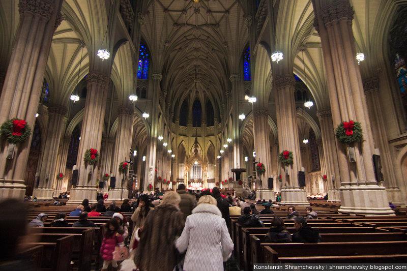 USA New York Christmas Saint Patrick Cathedral Inside США Нью Йорк Рождество Собор Святого Патрика Внутри