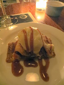 Serratto Bloggers Dinner, Dessert of Apple Turnover served warm with cinnamon gelato, amaretto caramel