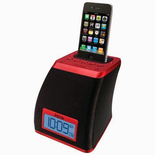 IHOME iP21RV iPhone(R)/iPod(R) Space Saver Alarm Clock (Red)