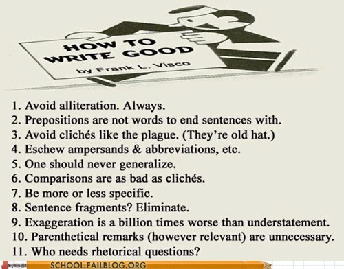 A list on how to write good