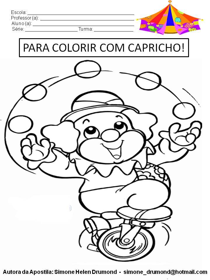 Apostila Atividades Para Colorir No Dia Do Circo Simone Helen