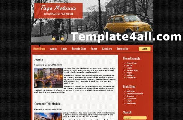 Vintage Red Brown Jquery Joomla Theme Template