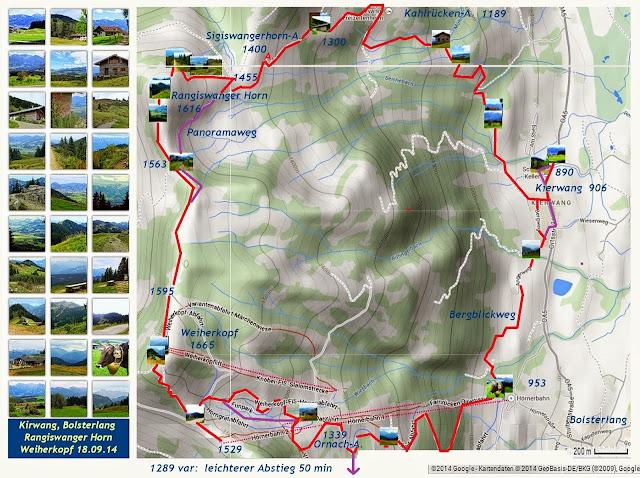 wanderkarte map bolsterlang rangiswangerhorn weiherkopf Allgäu