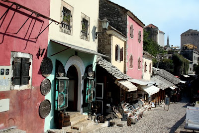 Souvenir shops in Mostar Bosnia