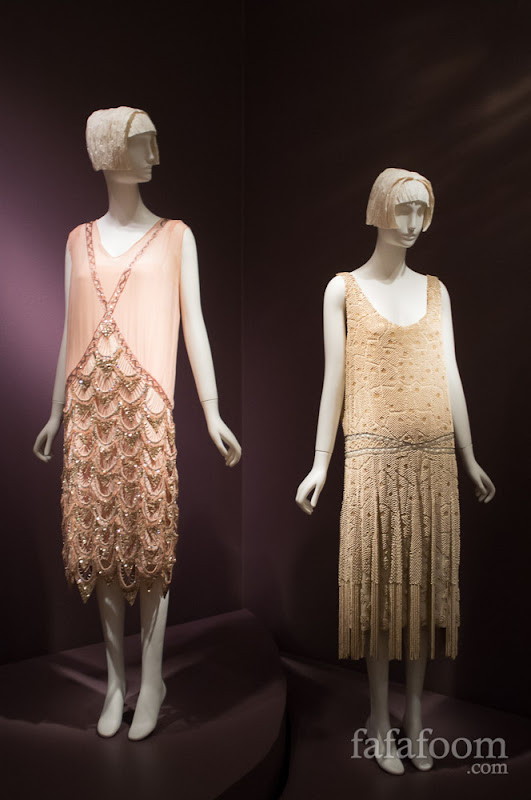 Art Deco French flapper evening dresses, 1920s.