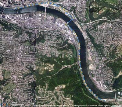 Pittsburgh Riverside 10 Miler GPS Track