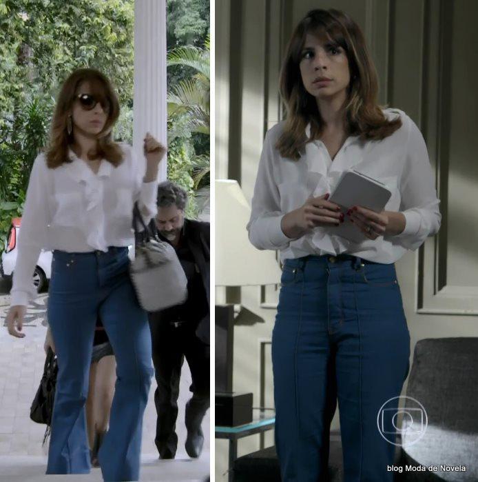 moda da novela Império - look da Danielle com calça azul e camisa branca dia 11 de agosto
