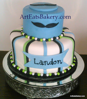 Little mustache man custom creative blue, white, green and black boy baby shower cake design
