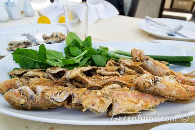 Ayvalık Deniz Kestanesi restoranında servis edilen tekir