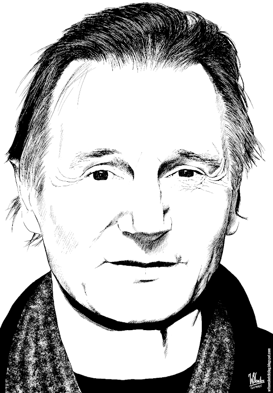 Ink drawing of Liam Neeson, using Krita 2.7 Alpha.