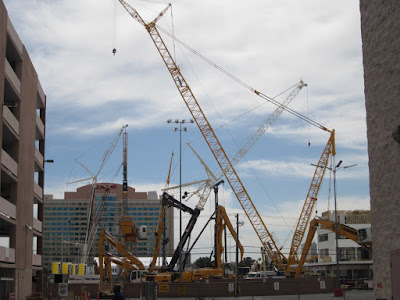 cranes construction vegas skyline stock photo