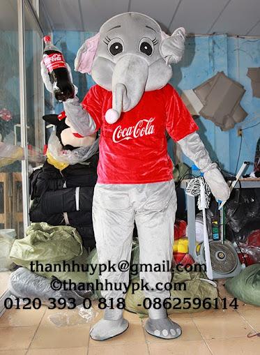 sản xuất mascot trang phục thú rối con voi COCACOLA