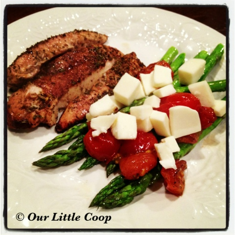 cook, baked balsamic chicken with asparagus tomato mozzarella cheese