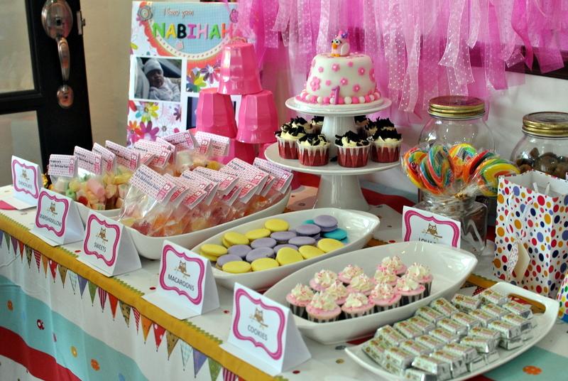 mama tatara nabiha s 1st birthday polka dot owl theme party