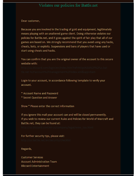 World of Warcraft Violates Our Policy For - Email Body