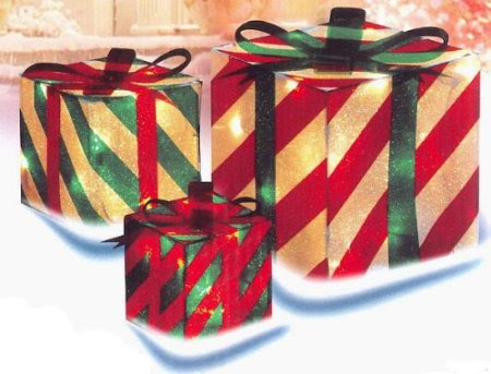 3 piece glistening striped gift box lighted christmas yard art decoration set - Outdoor Christmas Decorations Gift Boxes