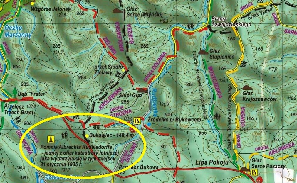 Fragment mapy Puszczy Bukowej z zaznaczonym miejscem katastrofy samolotu Ju 52