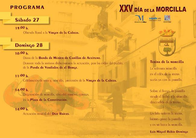 Programa XXV Fiesta de la Morcilla. Canillas de Aceituno