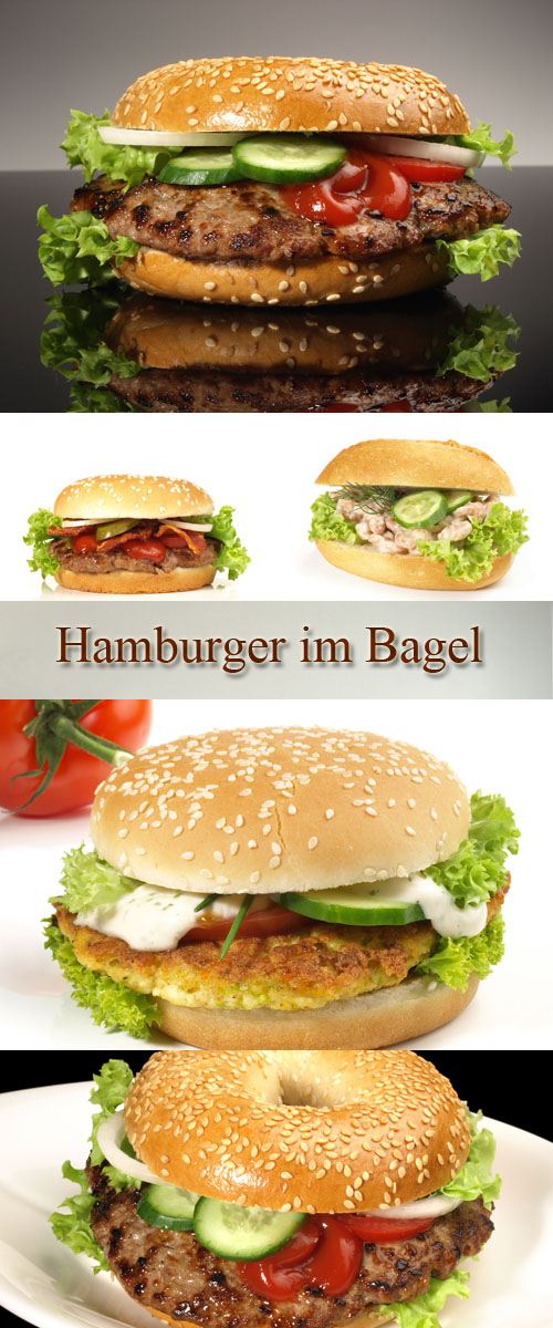 Stock Photo: Hamburger im Bagel
