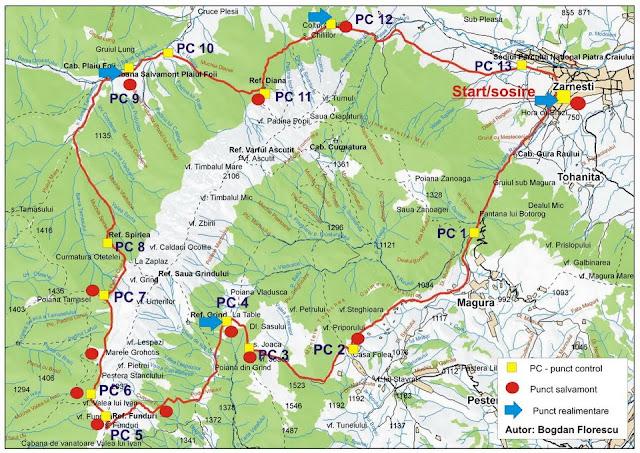 harta oficială a traseului de la Maratonul Piatra Craiului (MPC)