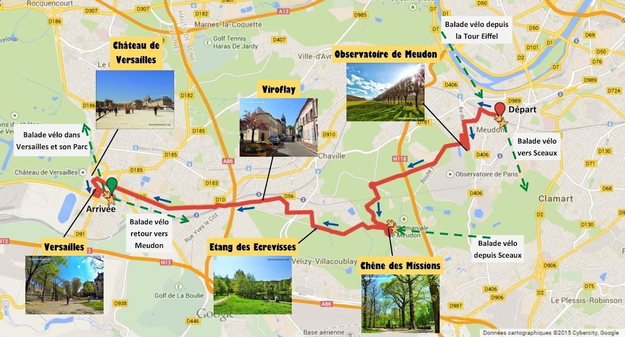 Tracé Balade à vélo de Meudon à Versailles par veloiledefrance.com