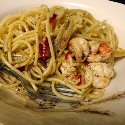Spicy Shrimp Aglio Olio by Shea Sonia