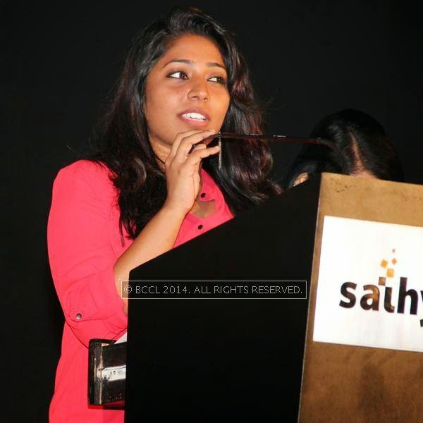 Snapped during the audio launch of Thirudan Police, in Chennai.