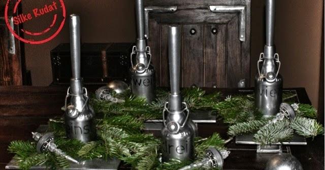 Silke rudat upcycled glass bottle advent wreath - Adventskranz edelstahl dekorieren ...