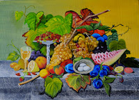 Still Life Fruits basket with bird nest
