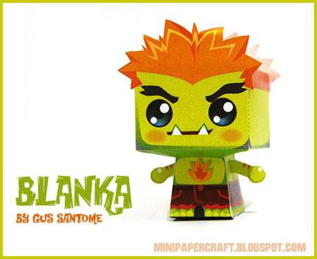 Street Fighter Mini Blanka Paper Toy