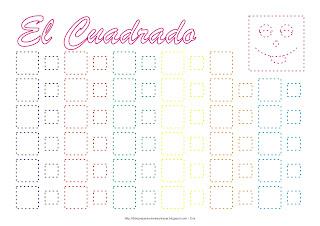 Dibujo para delinear y trazar la figura geométrica el cuadrado en colores