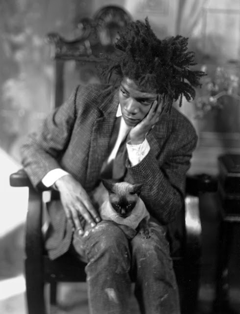 Jean-Michel Basquiat and a cat