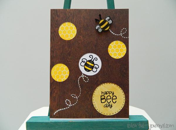 happy birthday card simon says stamps bee hexagons woodgrain
