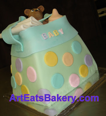 Fondant diaper bag baby shower cake with sugar bear, bottle and diapers