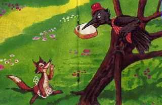 La zorrra y el cuervo hambriento