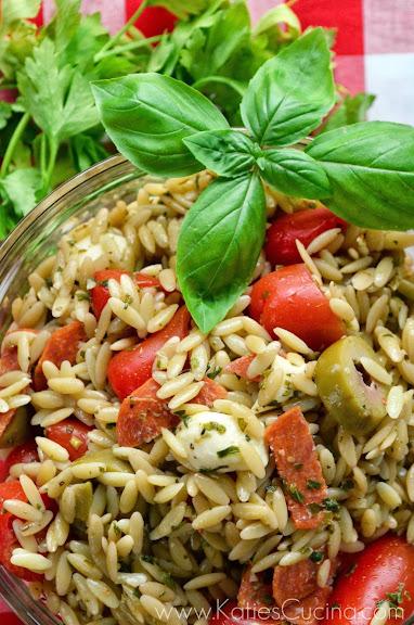 Orzo Antipasto Salad via KatiesCucina.com #FlavorsOfSummer
