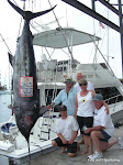 Team FIRE HATT,  Captain Chuck Wilson, Linda Wilson JD Hudson, Russ and Deborah Whitman with the largest Blue Marlin of the 2010 Kona Hawaii Rock N Reel Tournament.    Linda Wilson brought in the Big Blue weighing 560.5 pounds.
