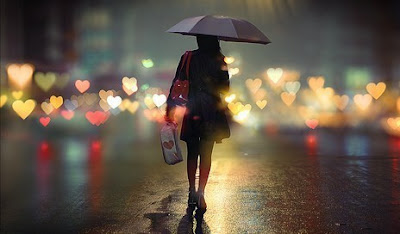 girl umbrella bokeh