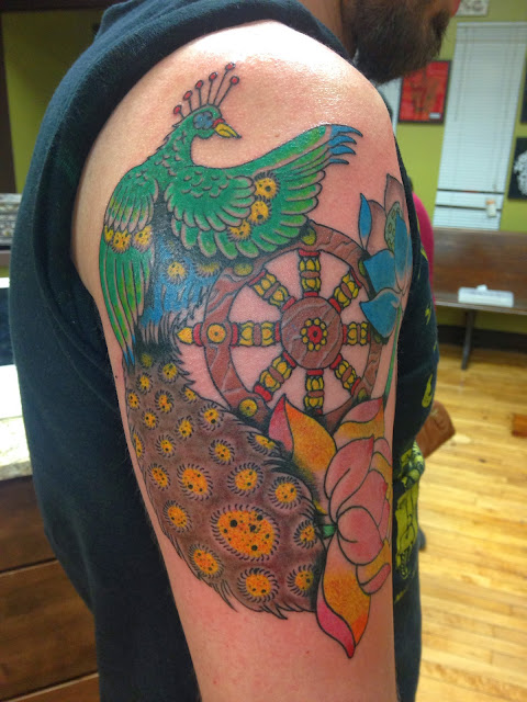 Matt Cee Tattoos Wheel Of Life With The Royal Peacock And Lotus Flowers