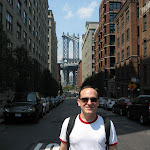 Me (at military attention) and the Manhattan bridge in the background