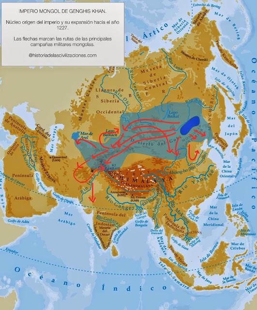 Imperio mongol Genghis Khan, 1227. Mapa: elaboración propia. ©www.historiadelascivilizaciones.com