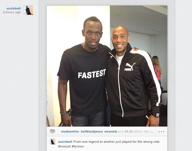 Usain Bolt meets Thierry Henry, says he should have played for Man United not Arsenal!